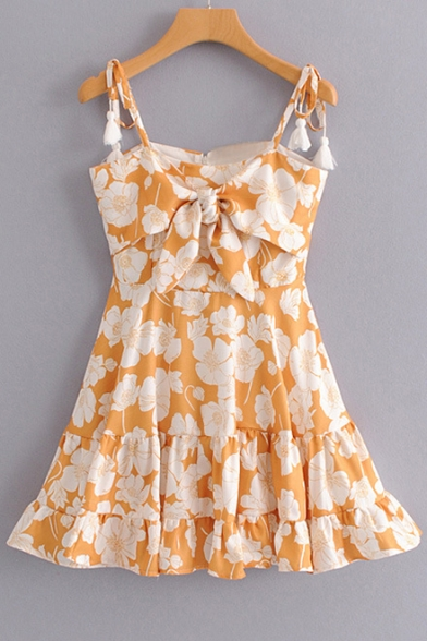 Tied Spaghetti Straps Sleeveless Floral Printed Bow Front Mini Cami Dress