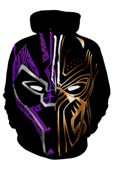 3D Fashion Mask Printed Leisure Oversize Hoodie with Pocket