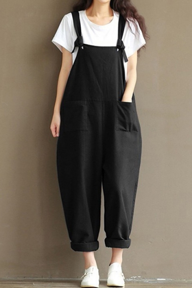 Basic Classic Plain Pocket Detail Turn-up Leg Loose Overall Jumpsuit