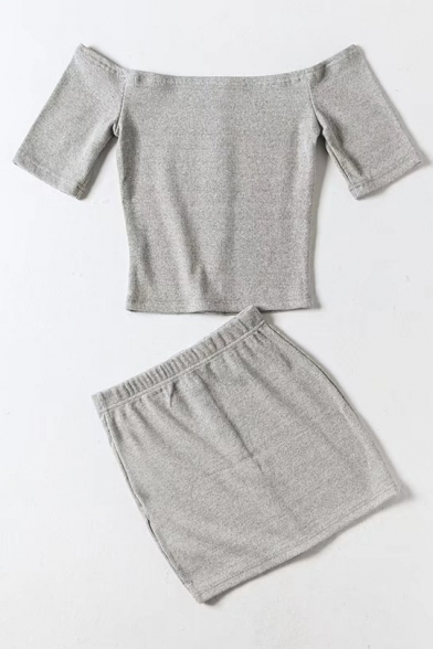 Line Top with Off The Chic Short Down Co A Sleeve Shoulder Buttons ords Crop Skirt Mini 4qR7xwz8