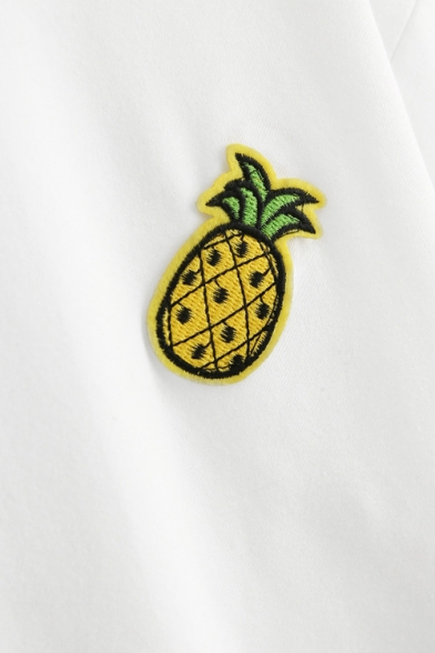 Applique Tee Out Neck Sleeve Pineapple Pattern Chic Crop Hollow Short V vUREwxn