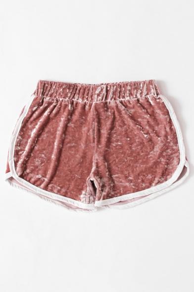 Chic Velvet Contrast Trim Elastic Waist Leisure Comfort Shorts