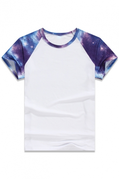 Printed Color Neck Galaxy Short Raglan Block Round Tee Sleeve x4EUR4gwq