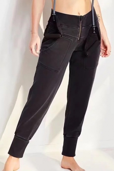 Elastic Waist Zipper Front Plain Tapered Pants with Pockets