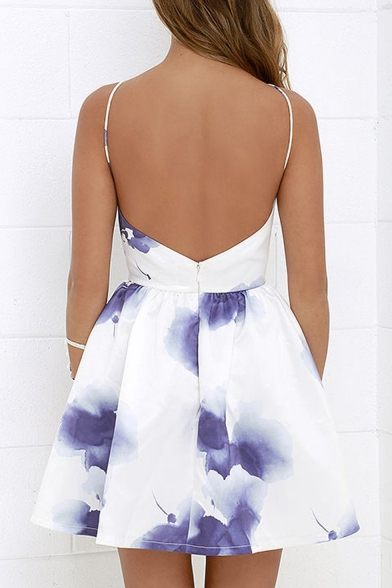 Floral Printed Spaghetti Straps Open Back Sleeveless Mini A-Line Dress