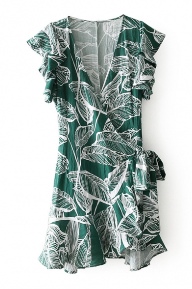 Min Ruffle Line A Neck Wrap Printed Detail Leaf Holiday Dress Plunge nSFOCqwqY