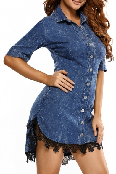 Panel Dress Hot Hem Sleeve Stylish Front Shirt Dipped Button Lace Lapel Half 0Oq0f