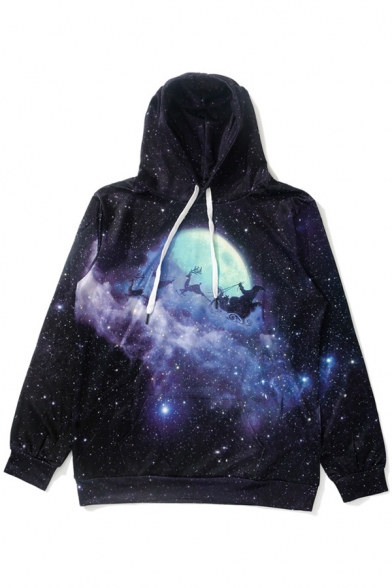 New Arrival Digital Galaxy Deer Printed Long Sleeve Loose Hoodie