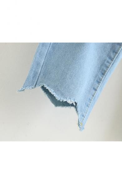 Retro Simple Plain Asymmetric Hem Loose Zipper Fly Jeans