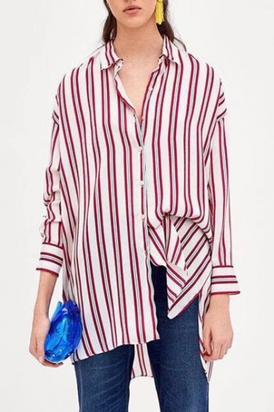 Sleeve Long Printed Tunic Shirt Down Collar Buttons Striped Lapel xIwtZUpZ