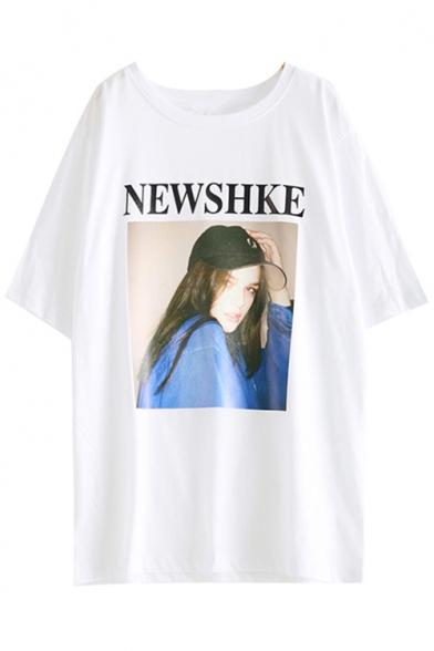 Stylish Round Print Character T Letter shirt Summer Neck Short Sleeves rqBrtwnHU
