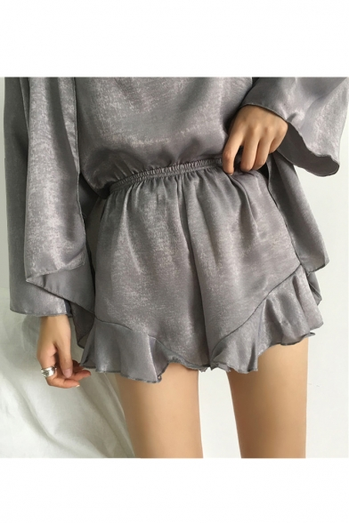 Pieces with Loose Waist Straps Co Front Open Cami ords Coat Shorts Spaghetti Elastic Three d7YI8qx1wd