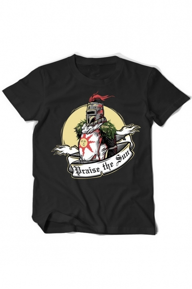Trendy Warrior Letter PRAISE THE SUN Print Round Neck Short Sleeves Summer T-shirt