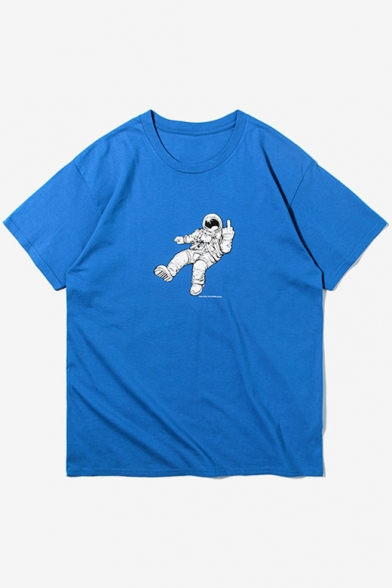 Summer Neck Short Round Leisure Printed Astronaut Sleeve Tee qHUfY6wn