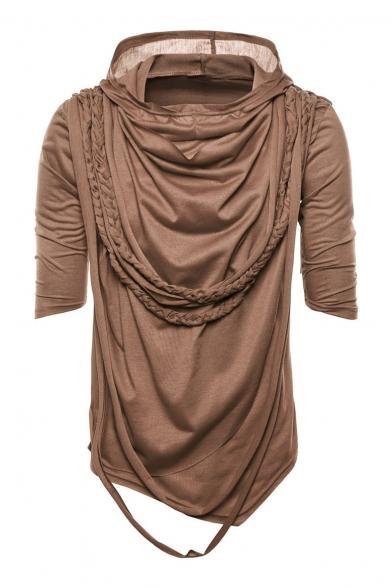 Tee Sleeve Braid Hooded Short Embellished Plain RY0qF7
