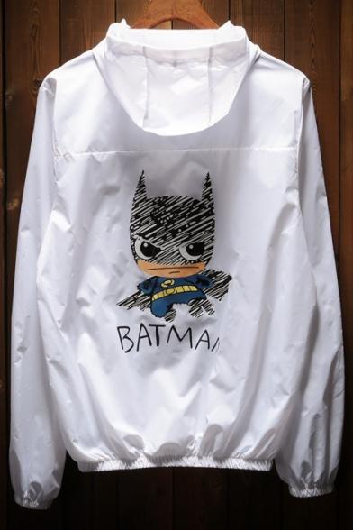 Zip Cartoon Letter Sleeve Coat Hooded Printed Batman Long Up wwvaqHO