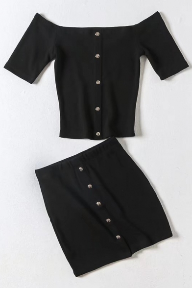 The Shoulder A Crop Chic Line Off Down Mini Top Skirt Sleeve with ords Co Short Buttons tIfIpxwq1