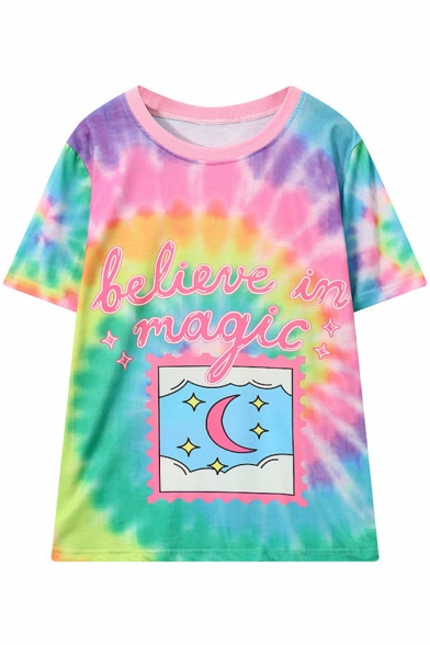 Colorful Round Letter Sleeve Printed Digital Tee Neck Short Loose Moon wIZxq