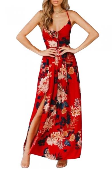 Floral Printed Hollow Out Spaghetti Straps Sleeveless Maxi Beach Dress