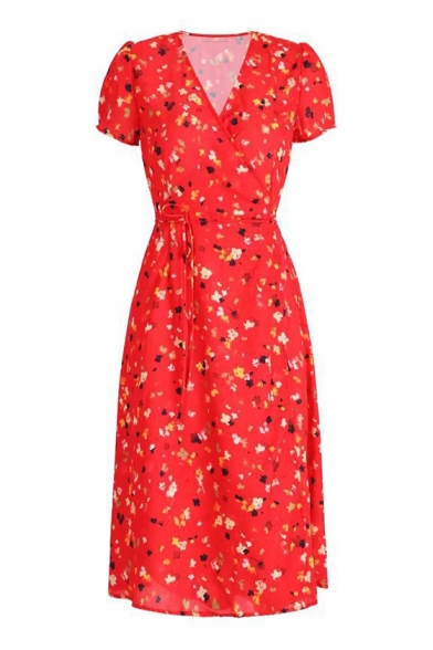 Floral Printed V Neck Short Sleeve Midi Wrap Dress