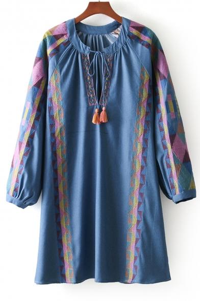 Neck Tassel Embellished Long V A Line Geometric Embroidered Dress Sleeve Mini HUXqEafx