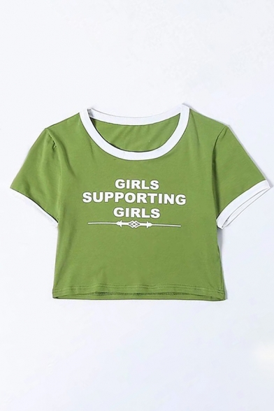 GIRLS SUPPORTING GIRLS Letter Printed Contrast Trim Short Sleeve Crop Tee LC470401 фото