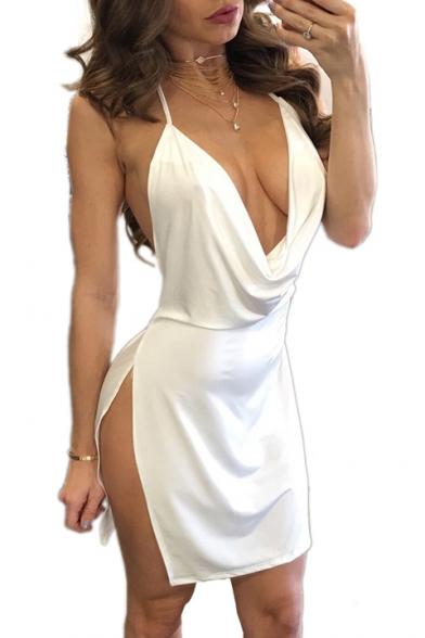 Halter Neck Open Back Split Side Summer Cami Dress