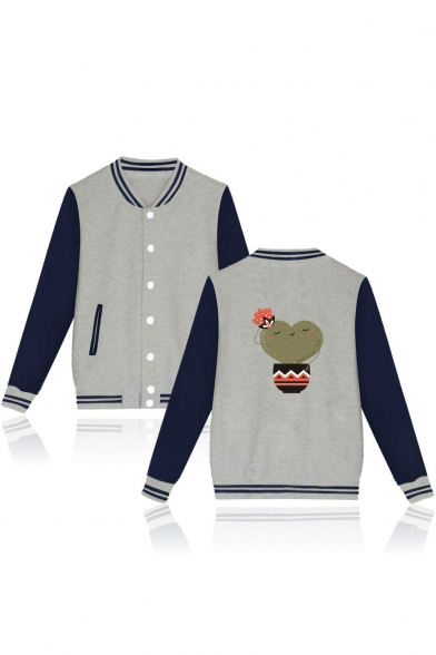 Heart Shaped Cactus Printed Stand Up Collar Color Block Buttons Down Baseball Jacket