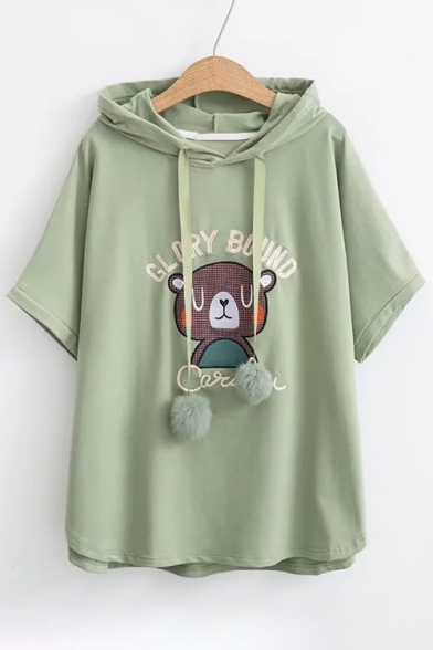 Letter Bear Applique Loose Short Sleeve Hooded Tee