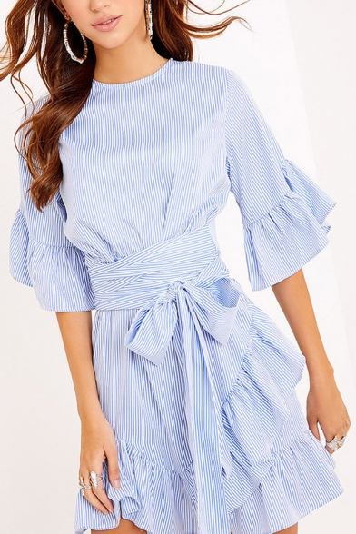 Round Neck Half Sleeve Ruffle Hem Bow Tied Waist Striped Mini A-Line Dress