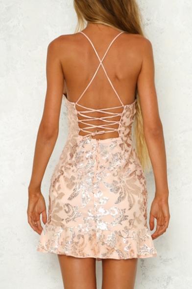 Mini Straps Pattern Sexy Ruffle Sequined Dress Cami Spaghetti Fashion Hem cfqFF0TW