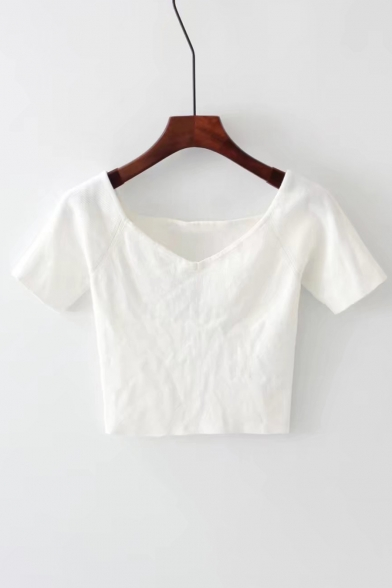 Slim Short Sleeve Crop Plain V Summer Neck Tee f8xfr