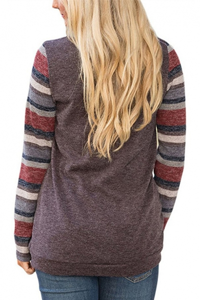 Striped Spring Long Tee Round Neck Sleeve Detail Pocket Fashion Casual 4Hrq5xwE4