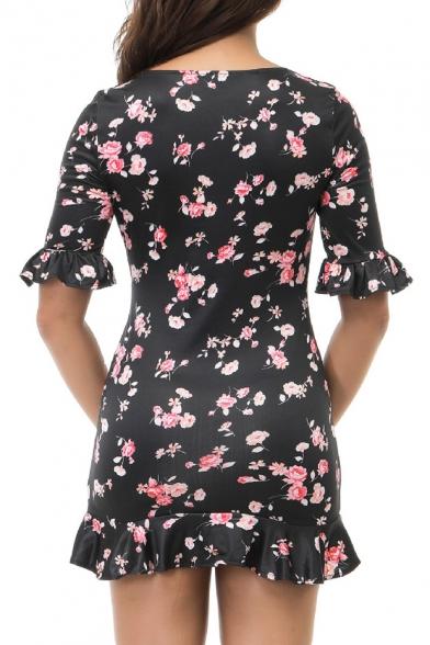 V Neck Floral Print Short Sleeve Ruffle Hem Mini Bodycon Dress