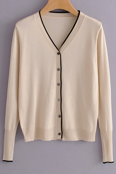 V Neck Long Sleeve Buttons Down Contrast Trim Cardigan