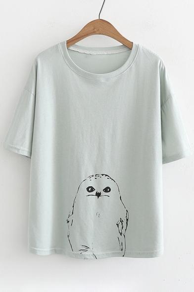 Animal Printed Round Neck Short Sleeve Tee