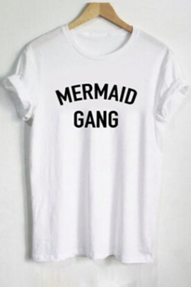 Print Casual Round GANG Sleeve Short MERMAID Letter Tee Neck qftyzf