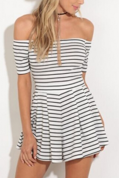 Off Shoulder A Tie Hollow Striped Bow Dress Pattern Chic Back Mini the line nwq8vYqT