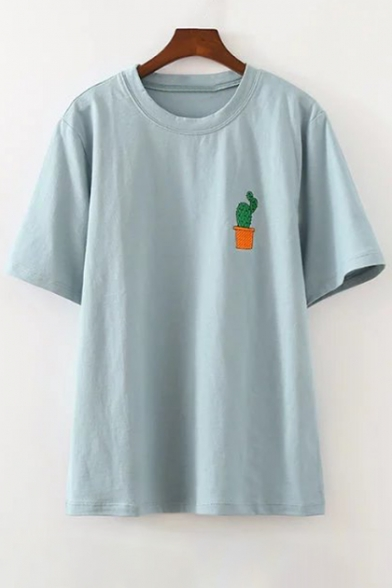 2a4a64099 Cute Cactus Embroidered Round Neck Short Sleeves Summer T-shirt -  Beautifulhalo.com