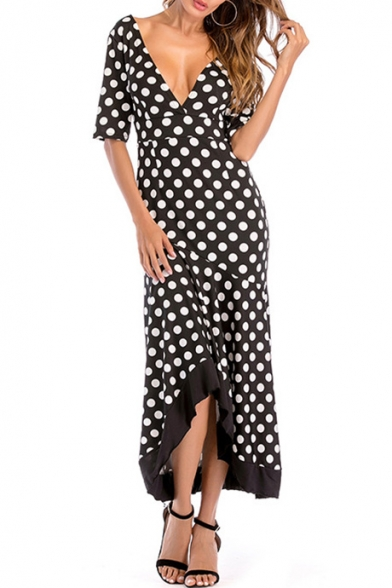 Elegant Polka Dot Printed V Neck Half Sleeve Maxi Asymmetric Hem Dress