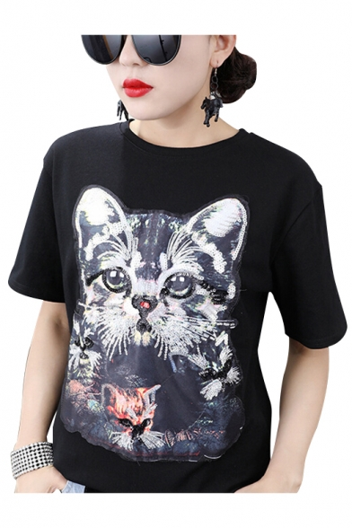 shirt Neck Hot Sale Summer Sleeves T Cat Round Short Print Sequined wvwqZBaC