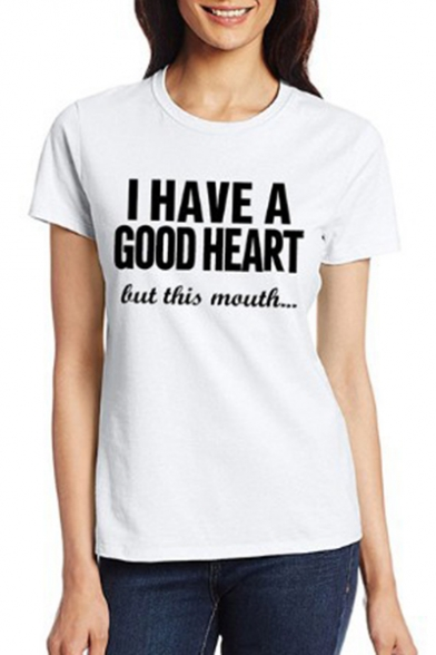 Round HEART Neck Tee I Short A Unisex HAVE Sleeve GOOD Printed Letter SBYx14