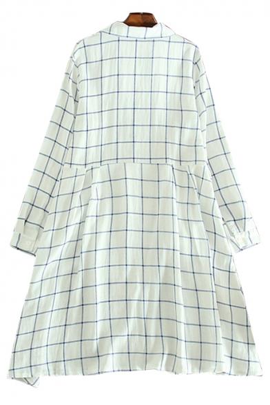 Leisure Plaid Printed Lapel Collar Long Sleeve Buttons Down Midi Shirt Dress