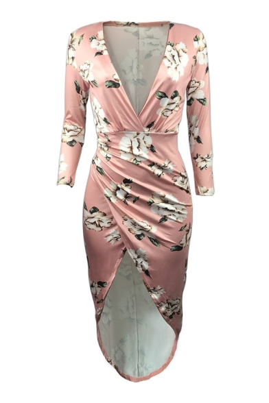 Plunge Neck High Low Hem Floral Print Long Sleeve Elegant Asymmetrical Dress