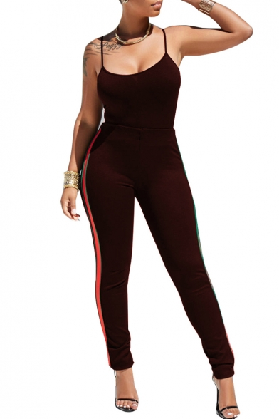 Cami with Striped Waist Side Sportive Workout Fit Slim Pants High Tx1Iwqv