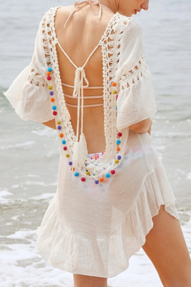 Summer Vacation Fashion Hollow Out Tie Back Tassel Pompom Detail Patchwork Cover Up