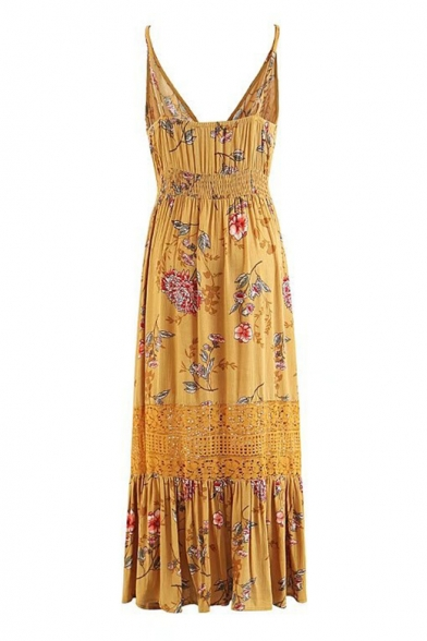 Bohemia Style Floral Printed Spaghetti Straps Lace Insert Buttons Down Maxi Cami Dress