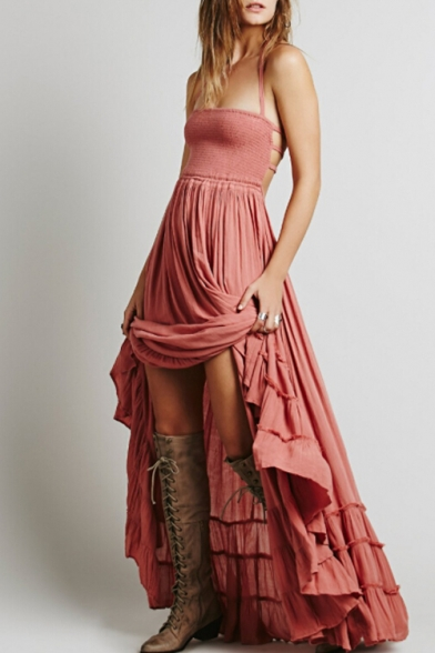 Beach Style Cami Dress Bohemia Plain Back Halter Hollow Sleeveless Maxi Out CFqBTzFw