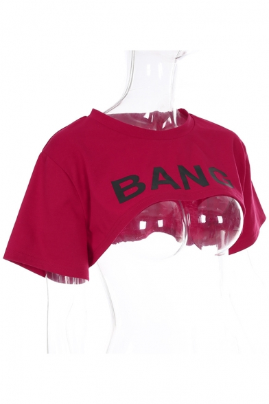 Letter Round Short Sleeve BANG Printed Crop Tee Neck q1wHgxS