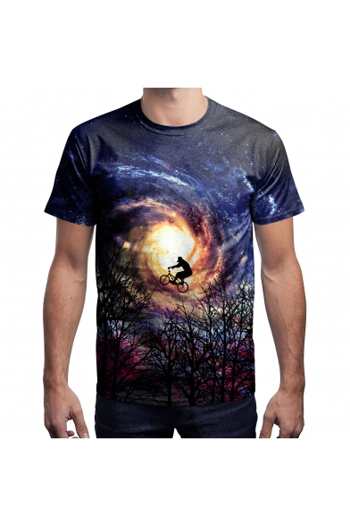 Sleeve Short Galaxy Neck Round Character Tee Printed Digital qwRxC1A